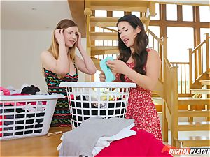 cunt touching uber-cute Eva Lovia and Stella Cox messing in the laundry