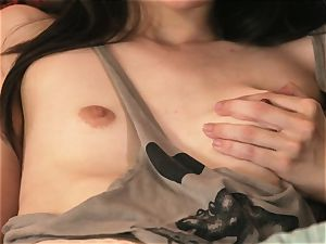 Emily Grey boned and facialled on the bed
