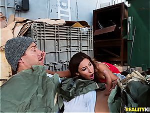 Jade Jantzen nailing a hobo with her hubby nearby