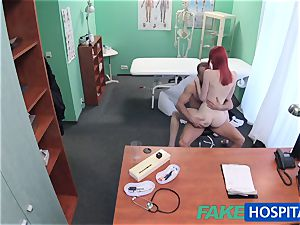 FakeHospital lovely redhead rides doctor for cash