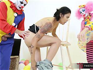 Dana Vespoli romped by creepy giant fuckpole clowns